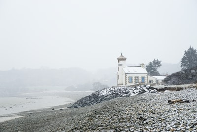 white concrete church near body of water and trees during daytime