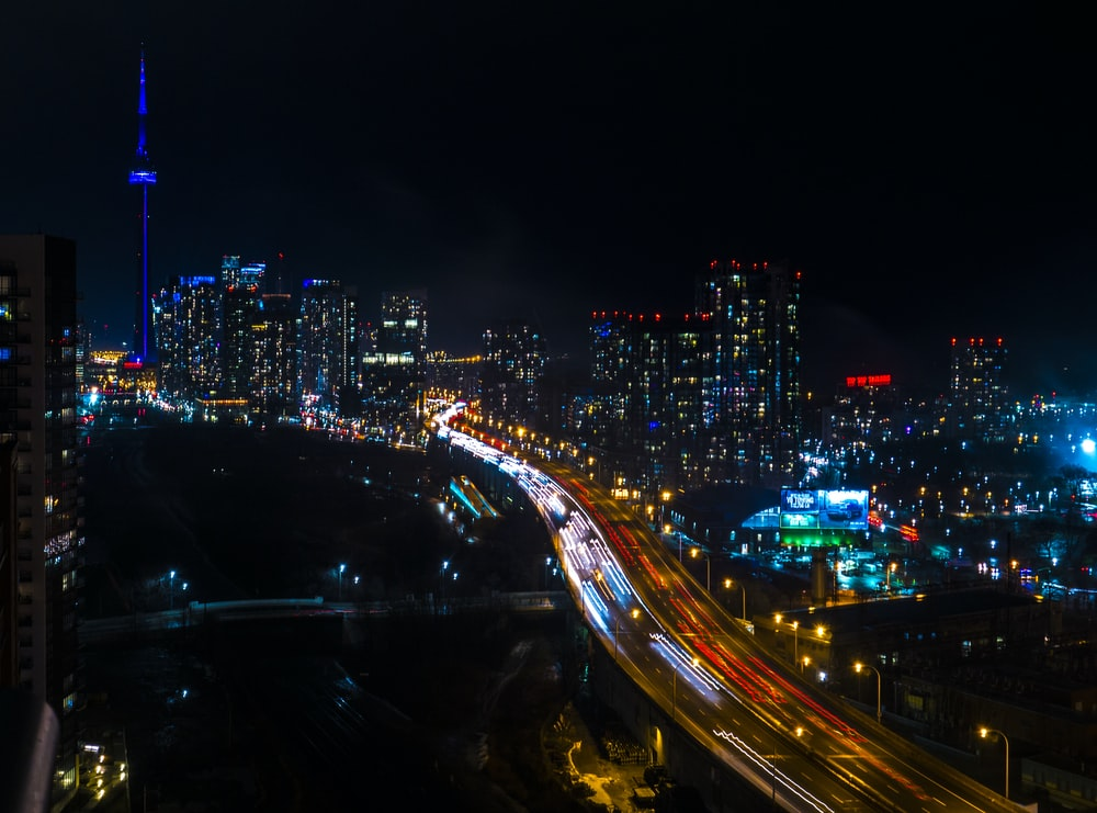 time-lapse photography of city during night