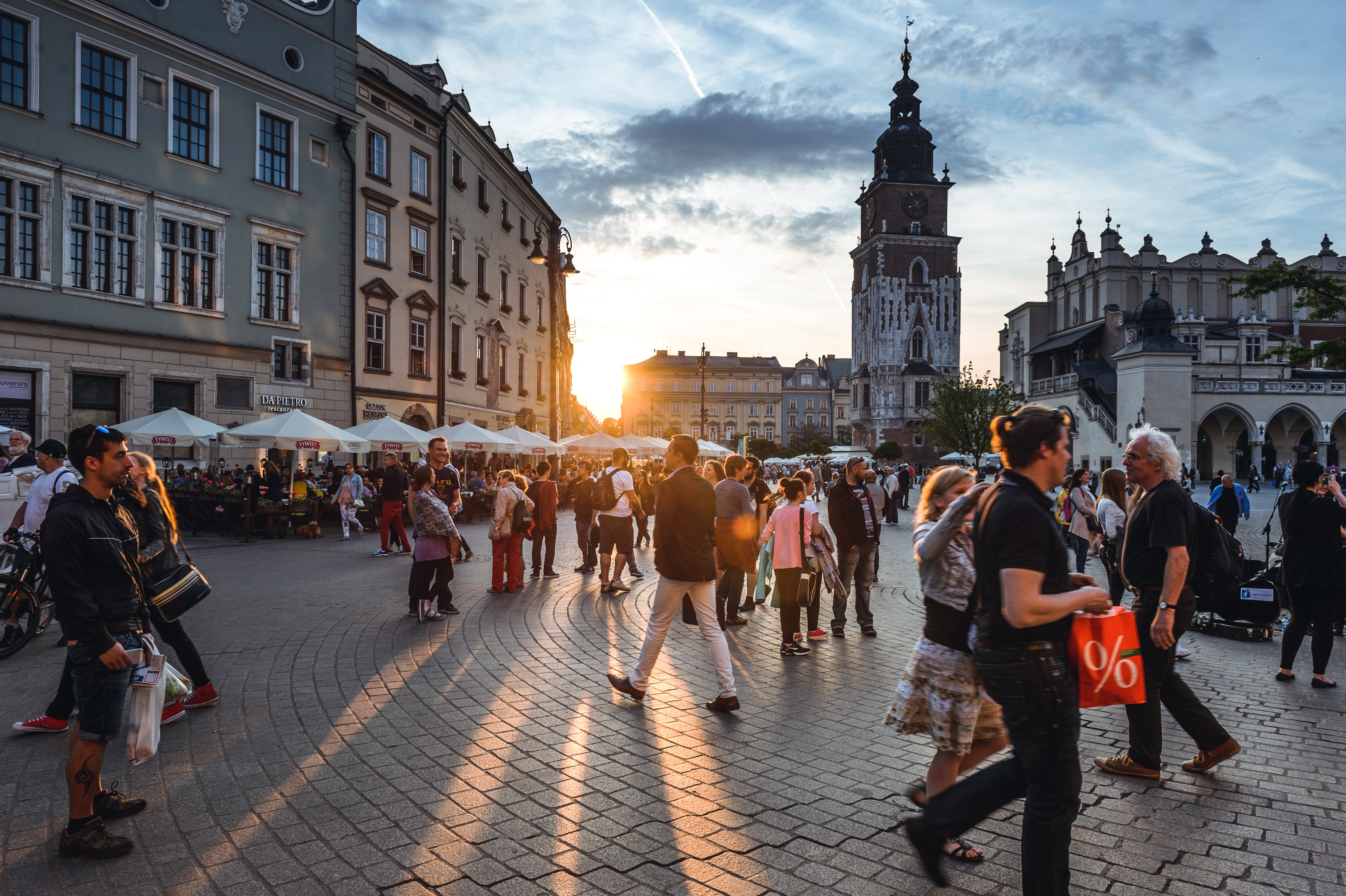 Tourists on Main Market Square in Krakow, Poland.