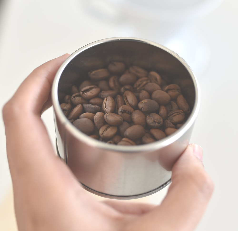 person holding coffee bean in stainless steel bowl