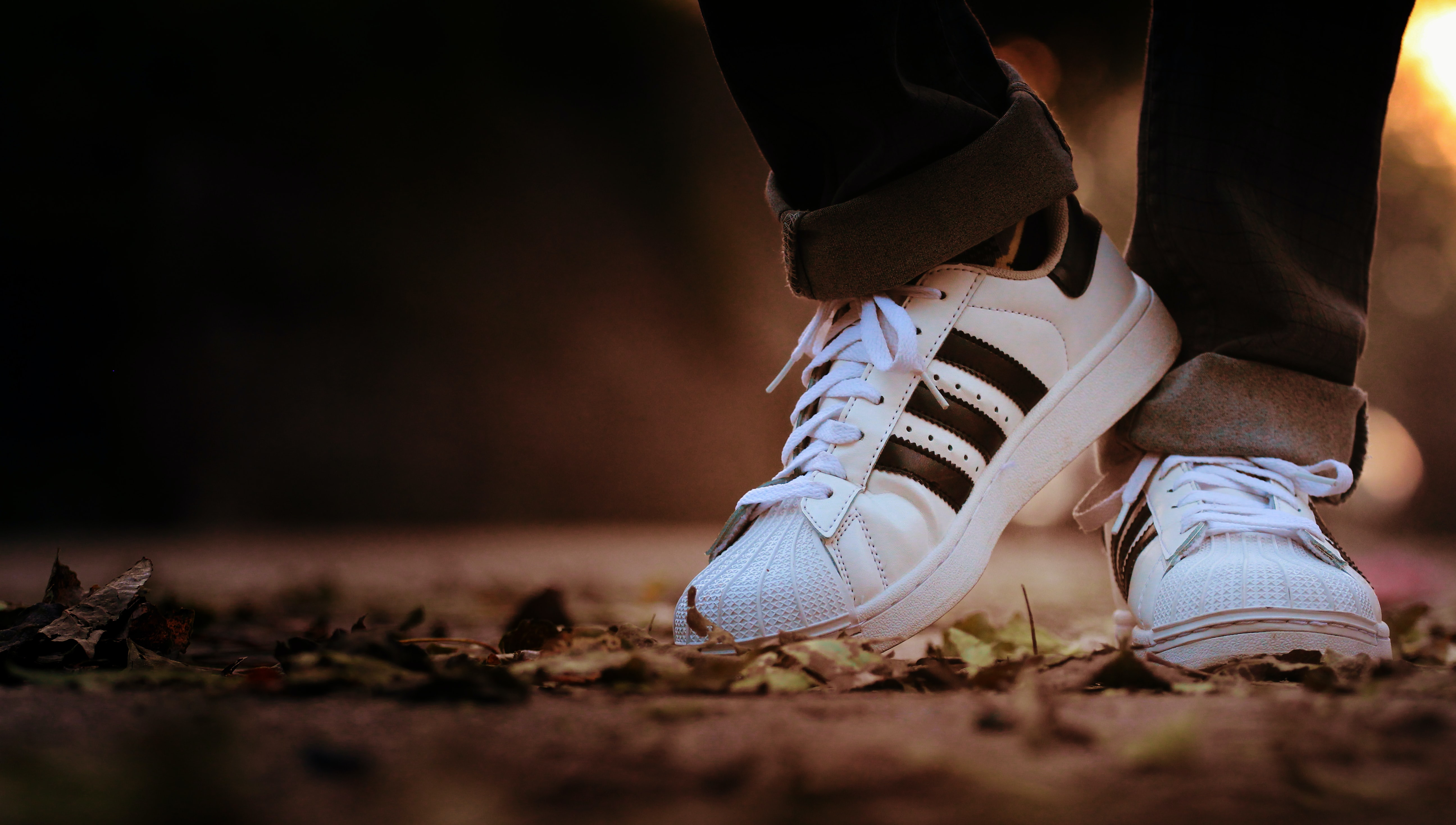 person wearing pair of white adidas Superstar sneakers during daytime