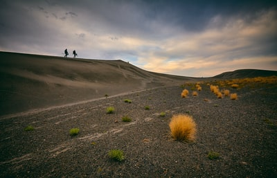 two people walking on desert prairie teams background
