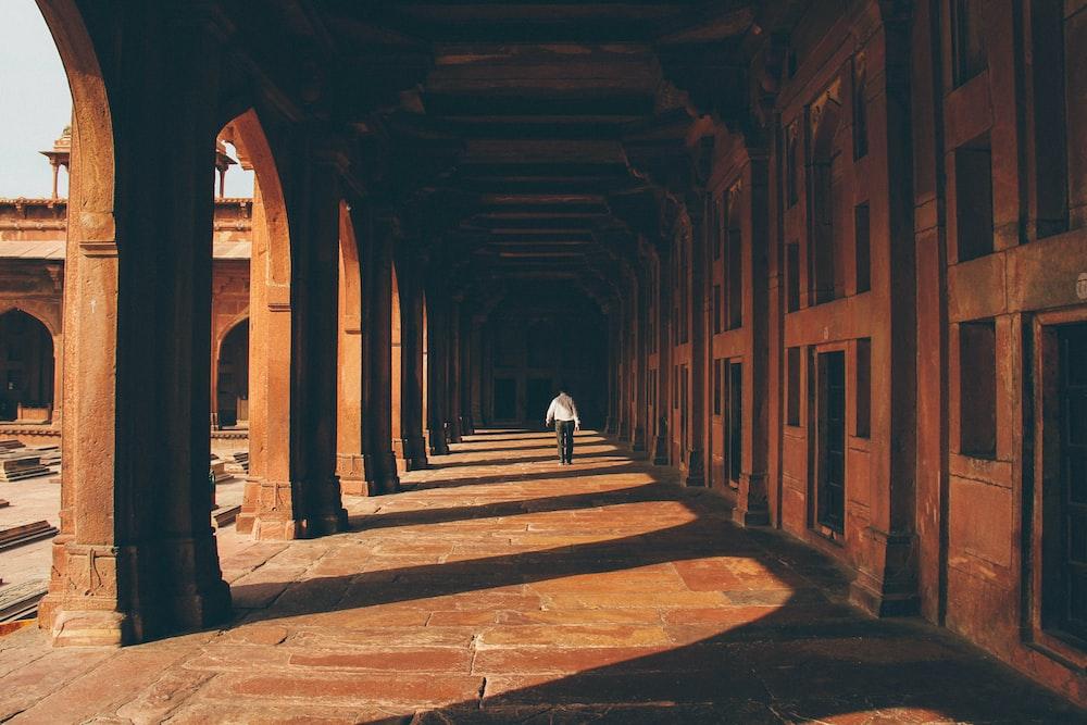 person walking on walkway