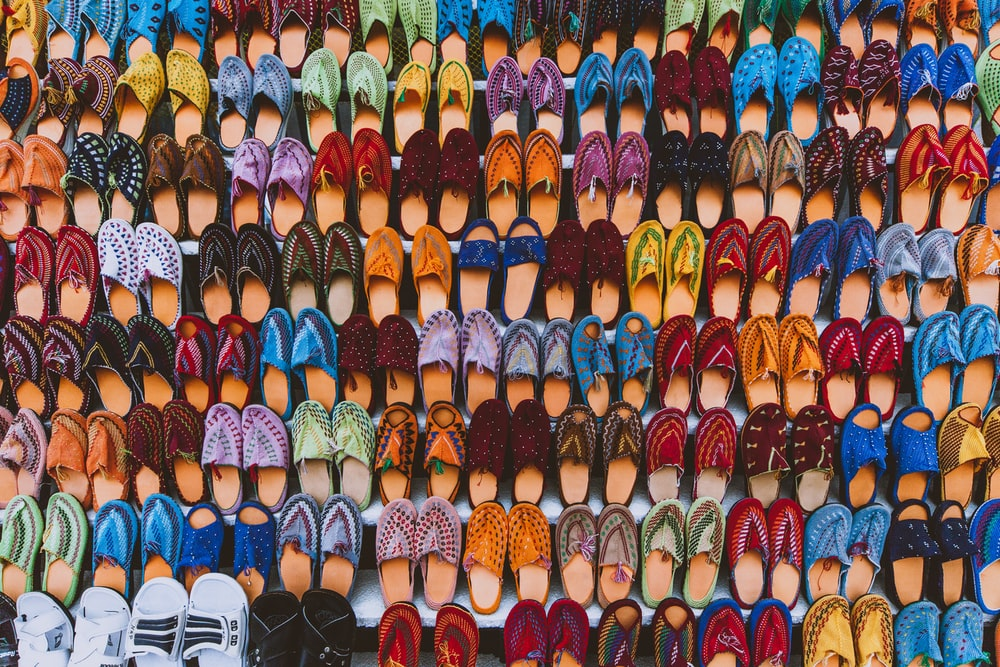 pairs of assorted-color footwear lot
