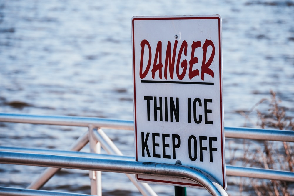 Danger thin ice keep off signage