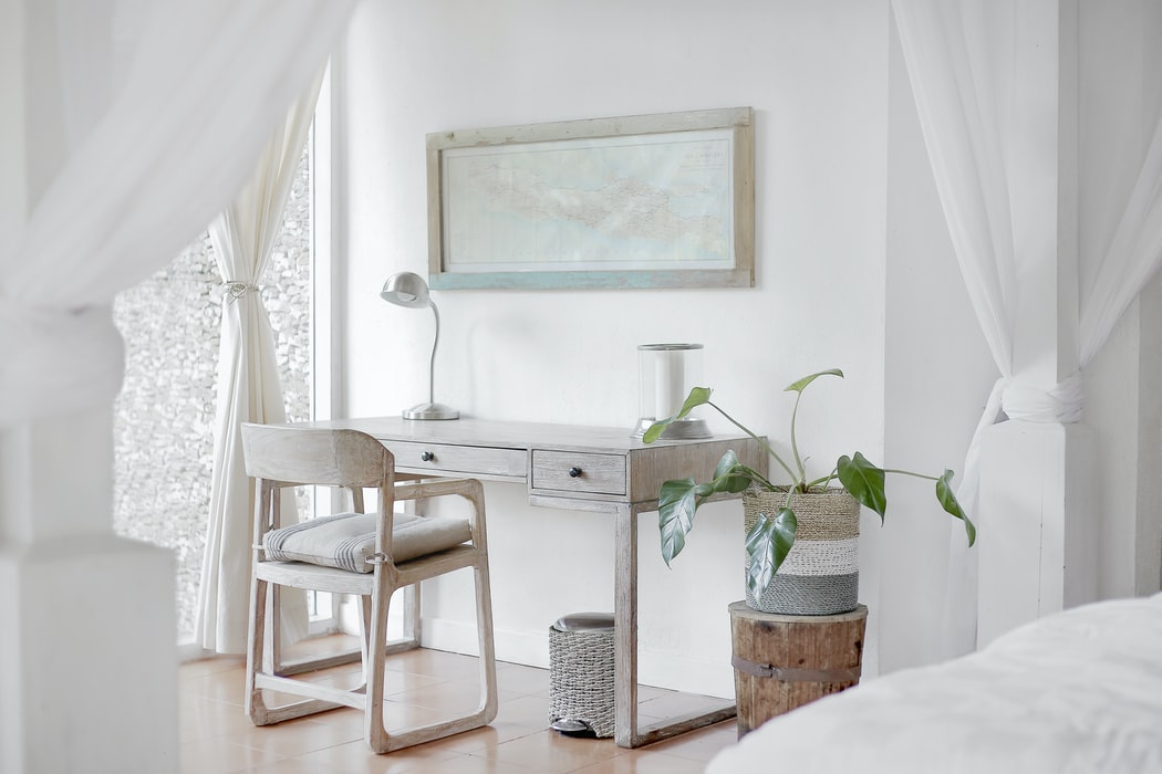 White airy home office space
