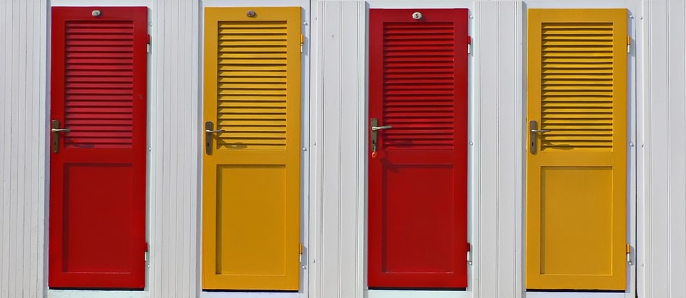 photo of four closed doors