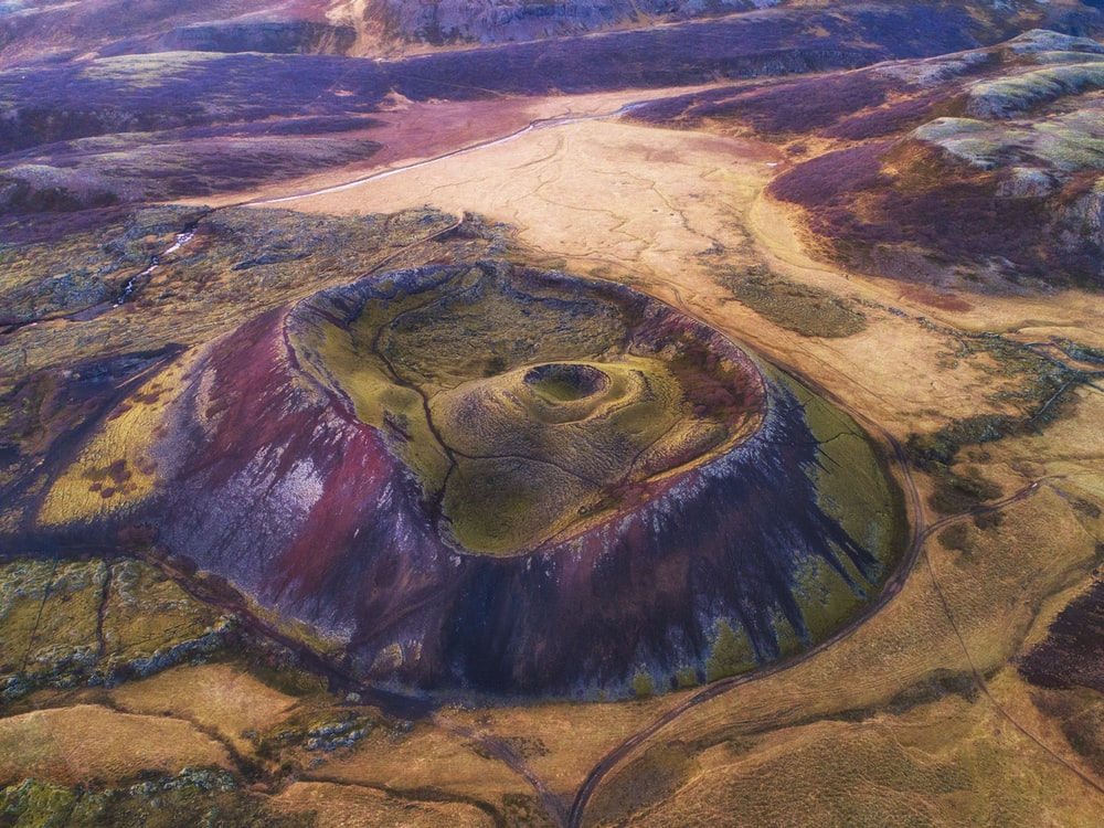 aerial view of a volcano during daytime