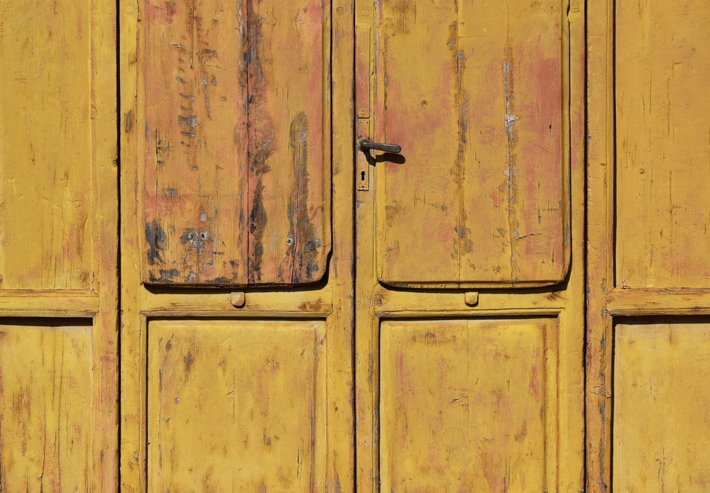 closed brown wooden cabinet
