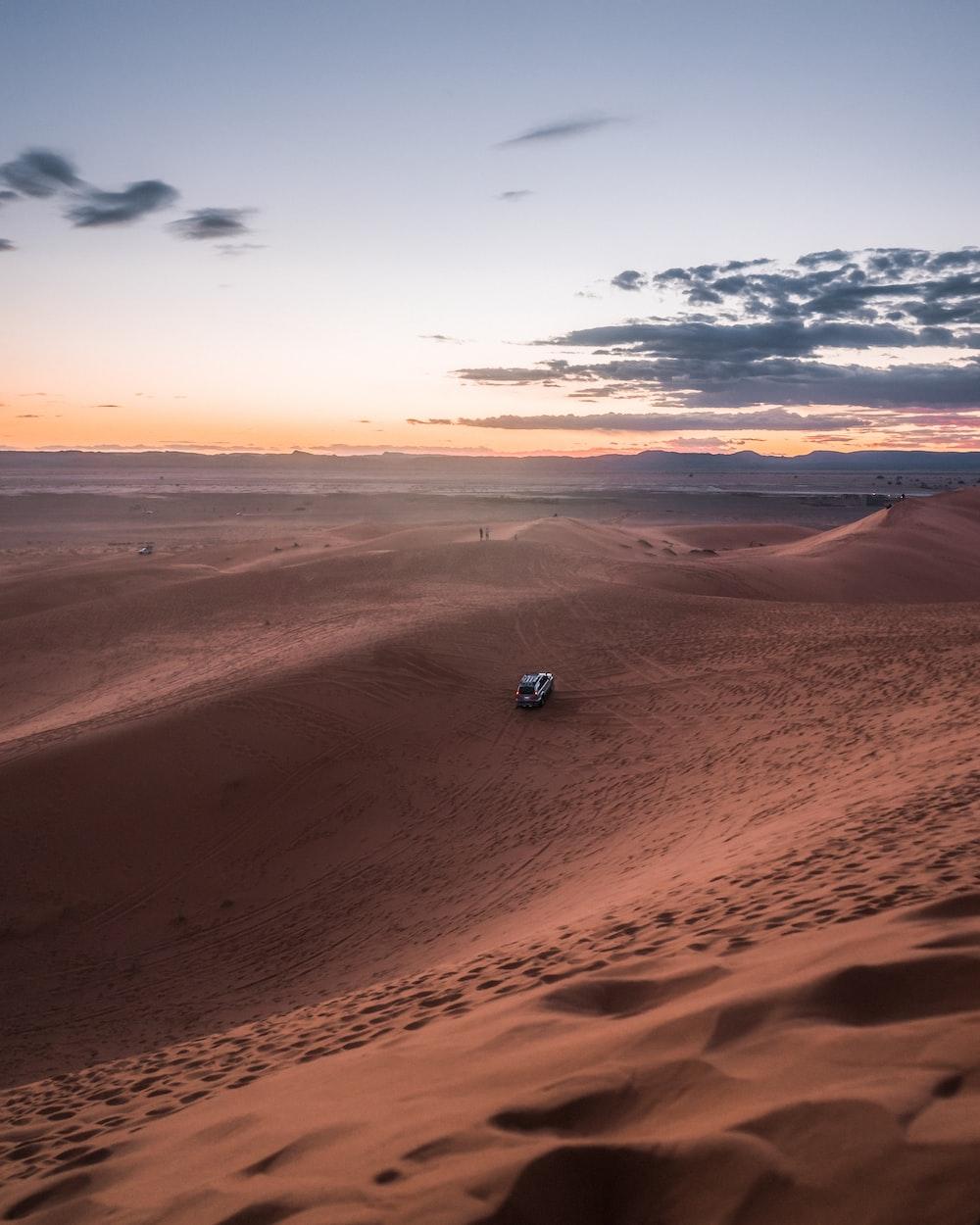 car running on desert