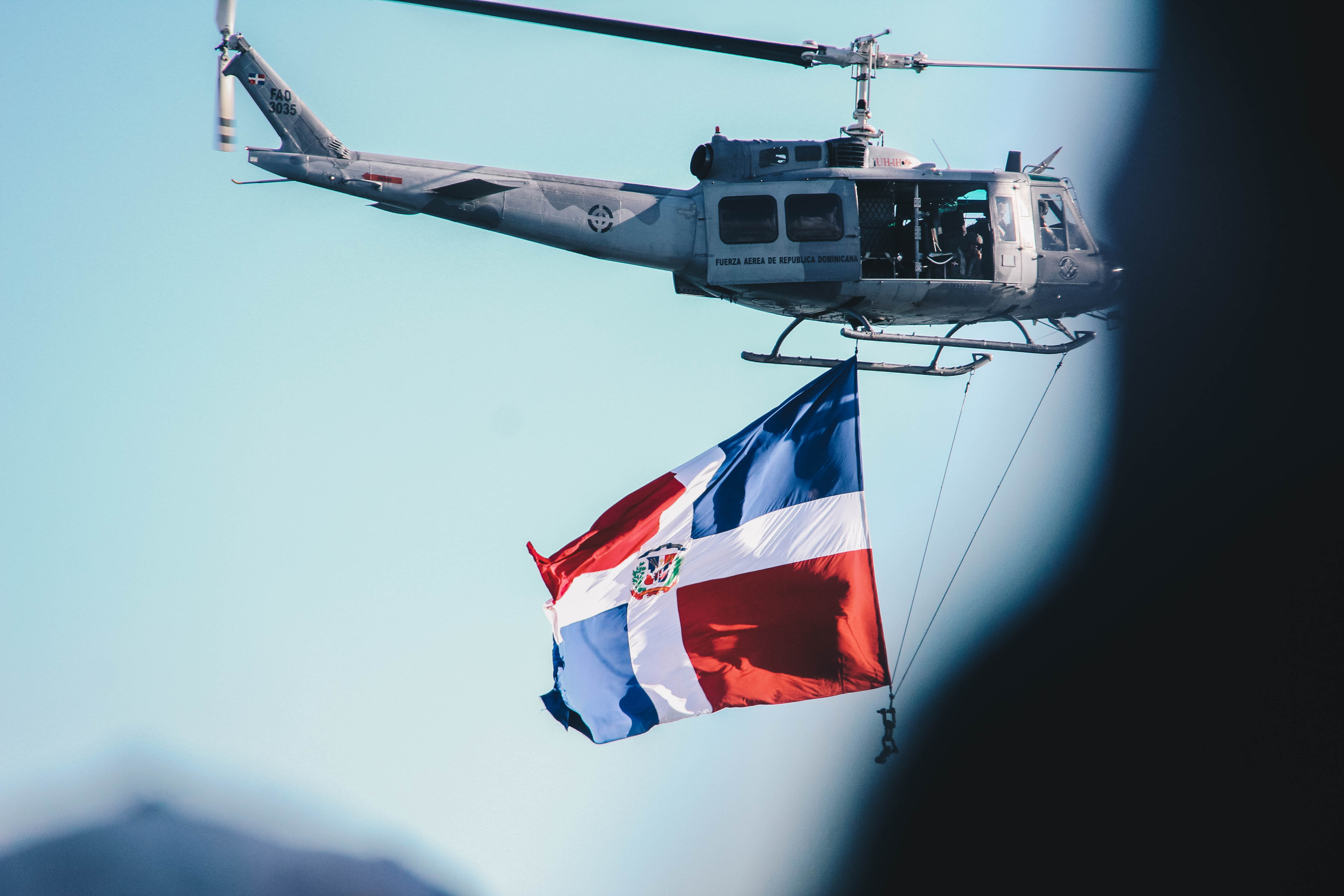helicopter raising a flag