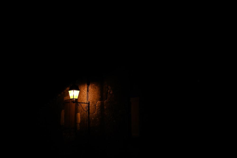 closeup photo of black patio lamp
