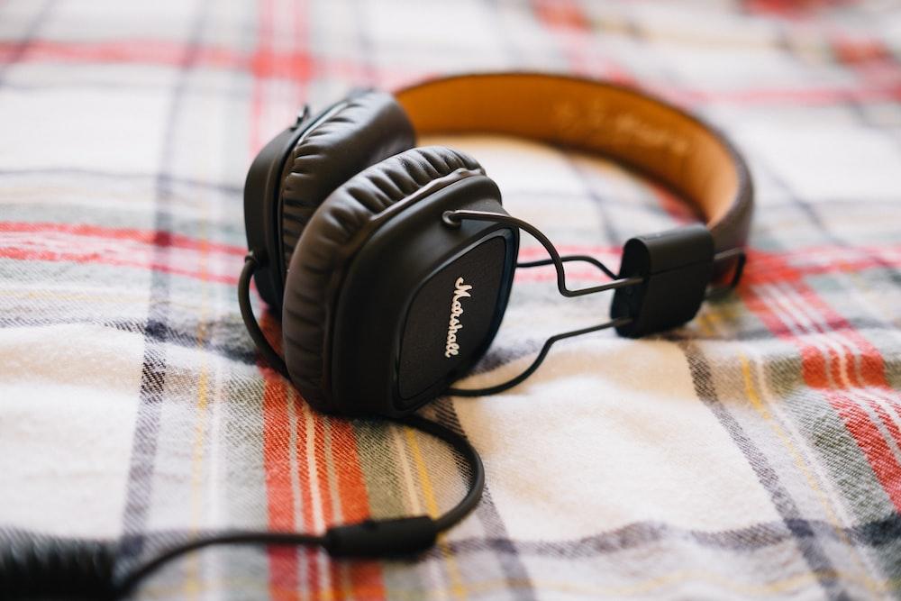 black Marshall corded headphones