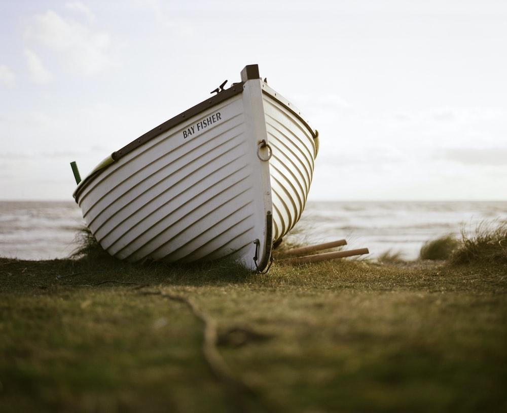 white boat on green grass field under gray sky