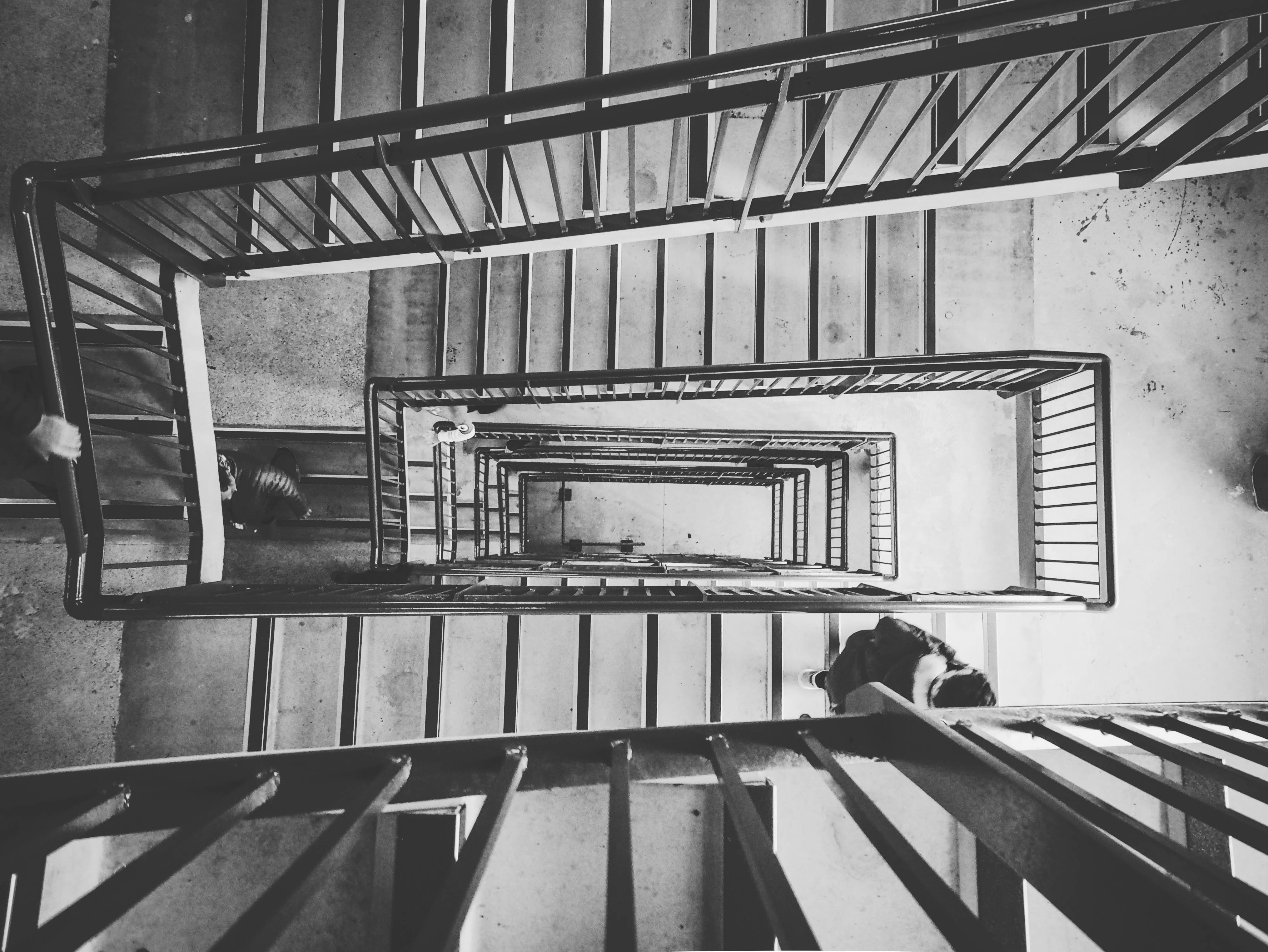 greyscale photo of staircase