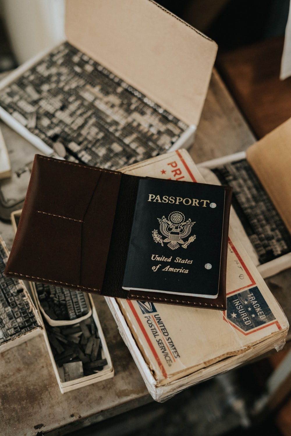 photo of United States of America Passport on white box