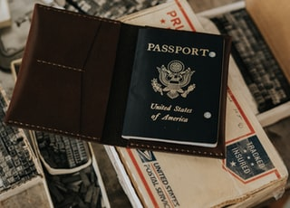 photo of United States of America Passport on white box