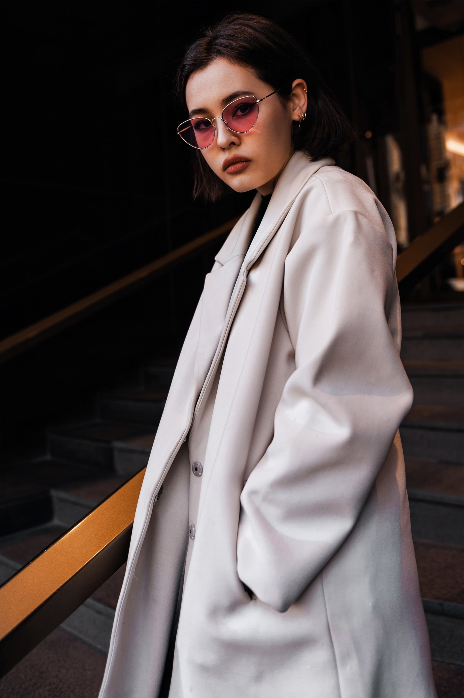 "Nikon D700 sample photo. ""Women's long gray coat"" photography"