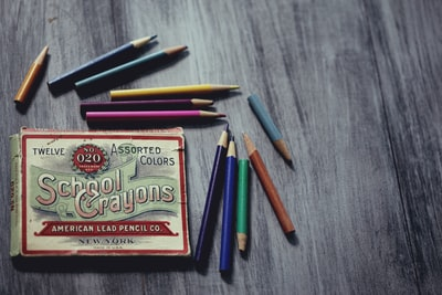 school crayons box surrounded pencils english zoom background