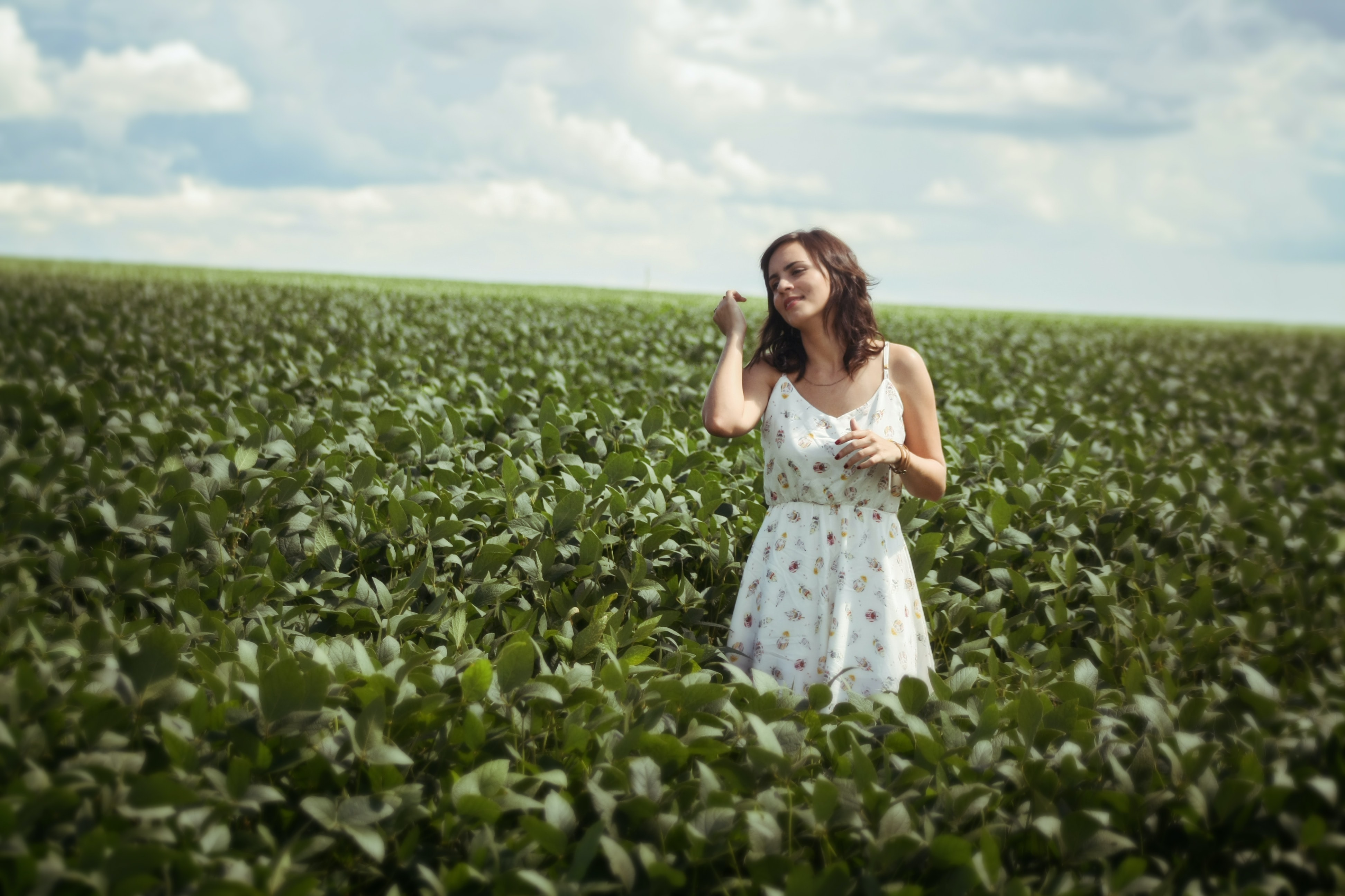 woman standing in green leafed plant field during daytime