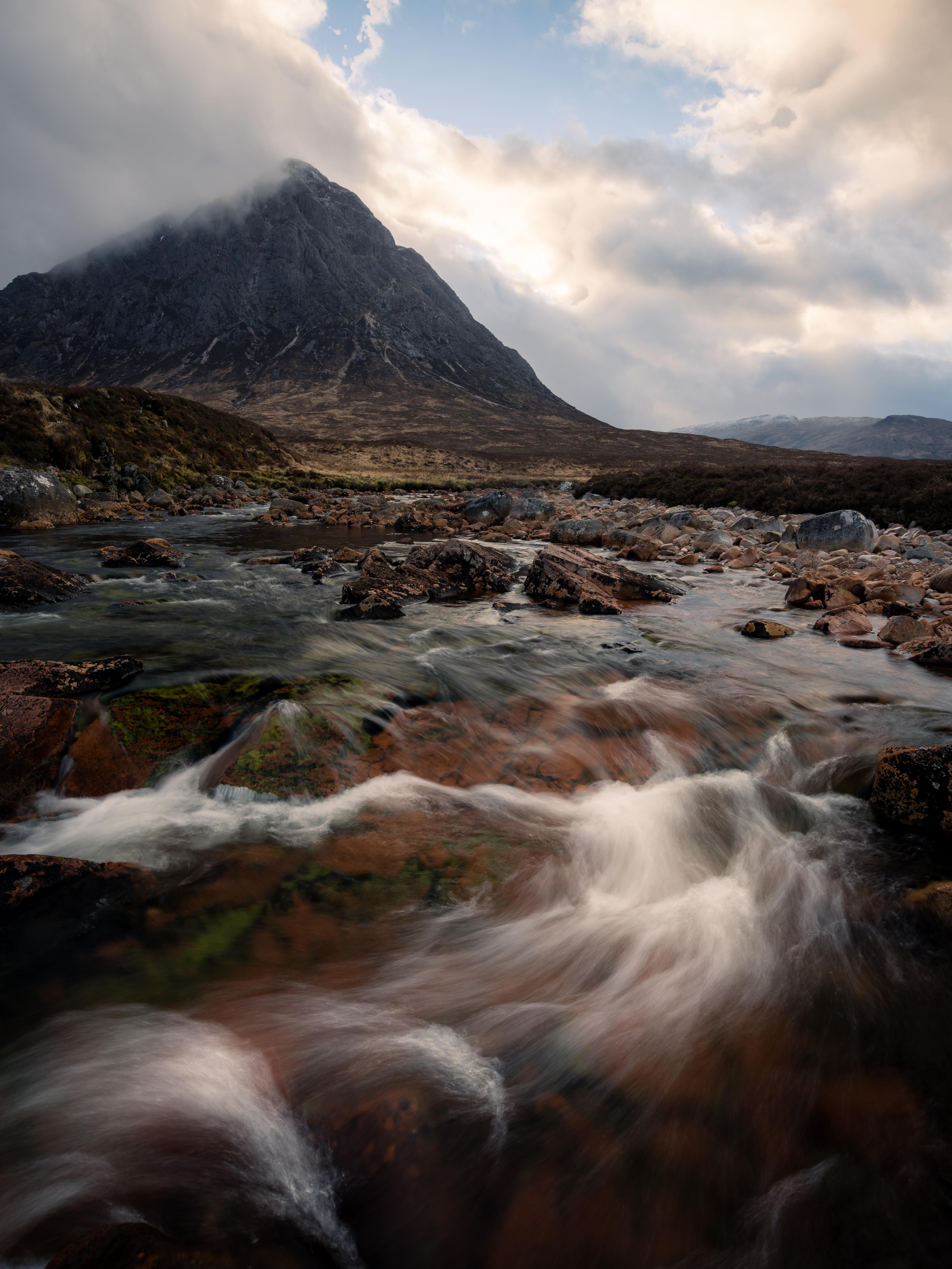 raging water through mountain