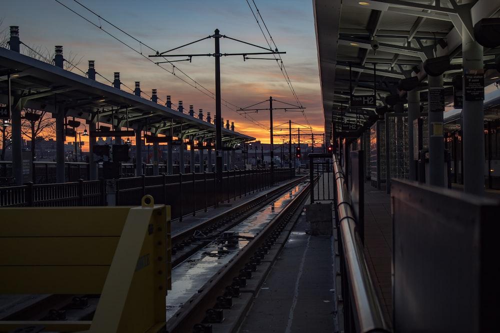 train rail at train station