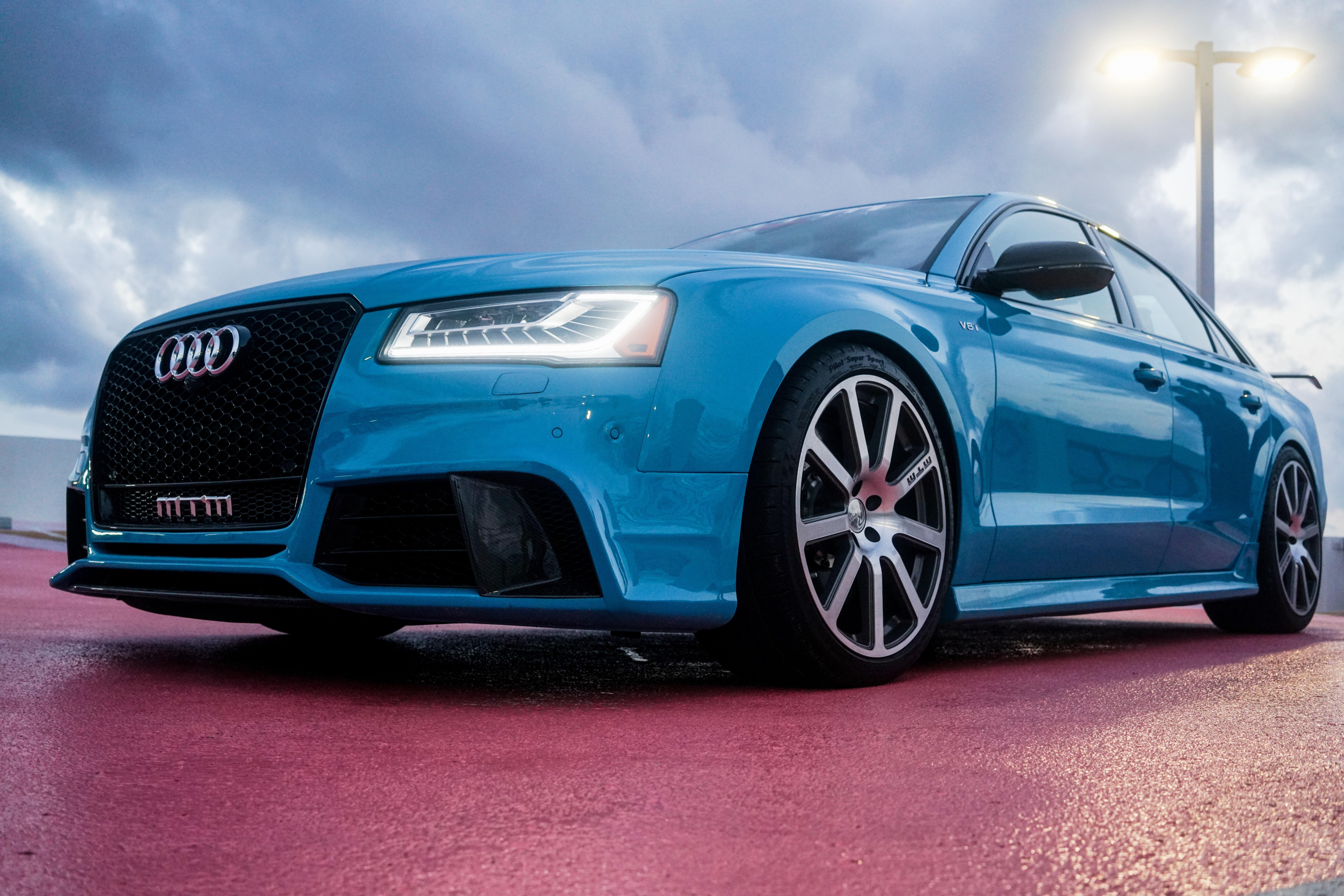 blue Audi sedan