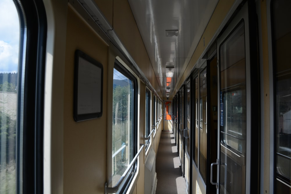 architectural photography of passenger hallway