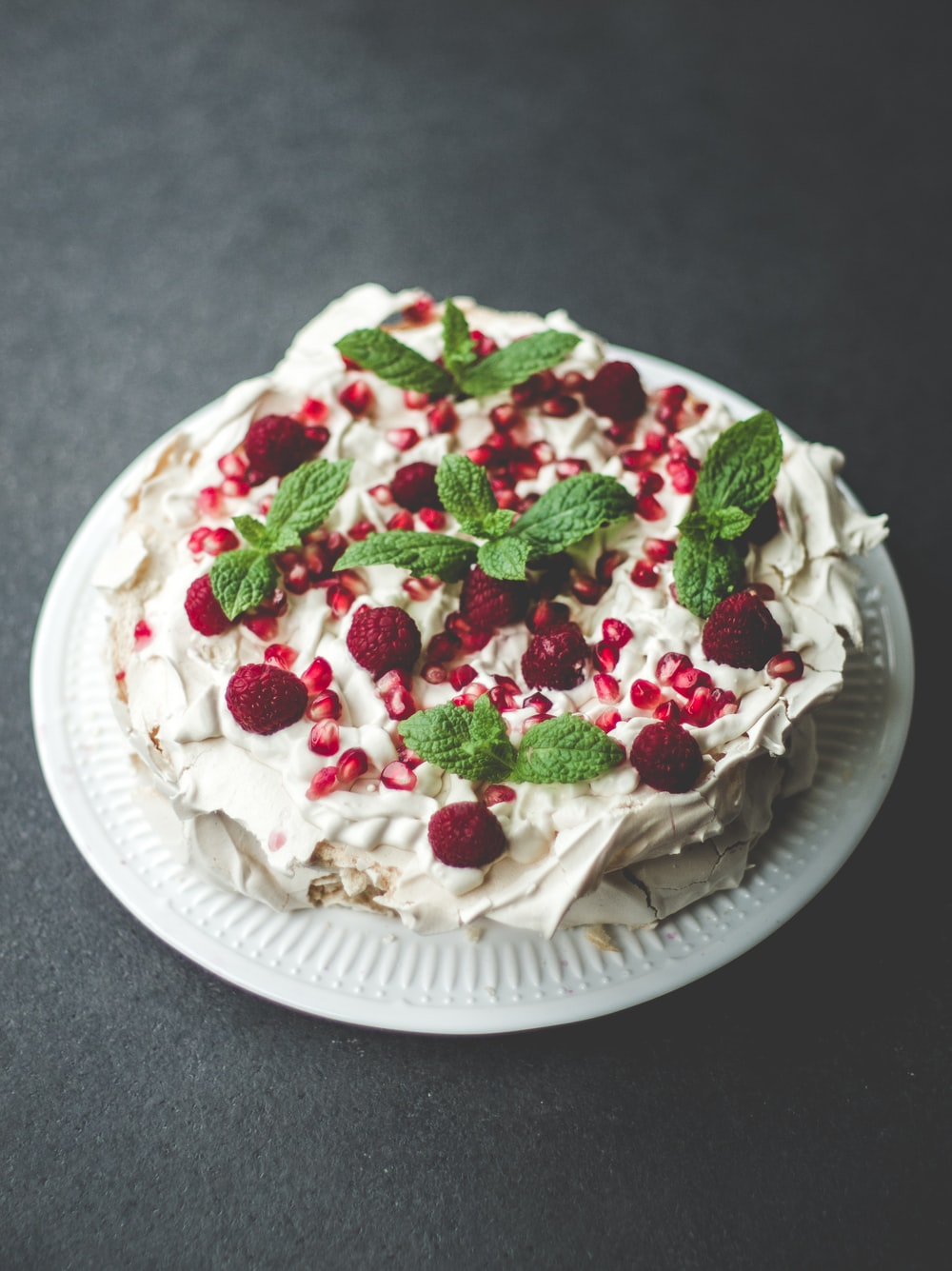 strawberry cake on plate