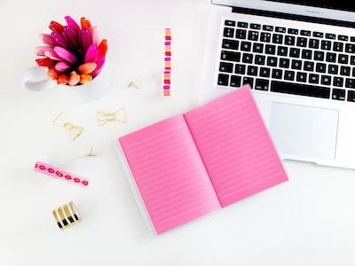 pink lined notebook beside MacBook Air