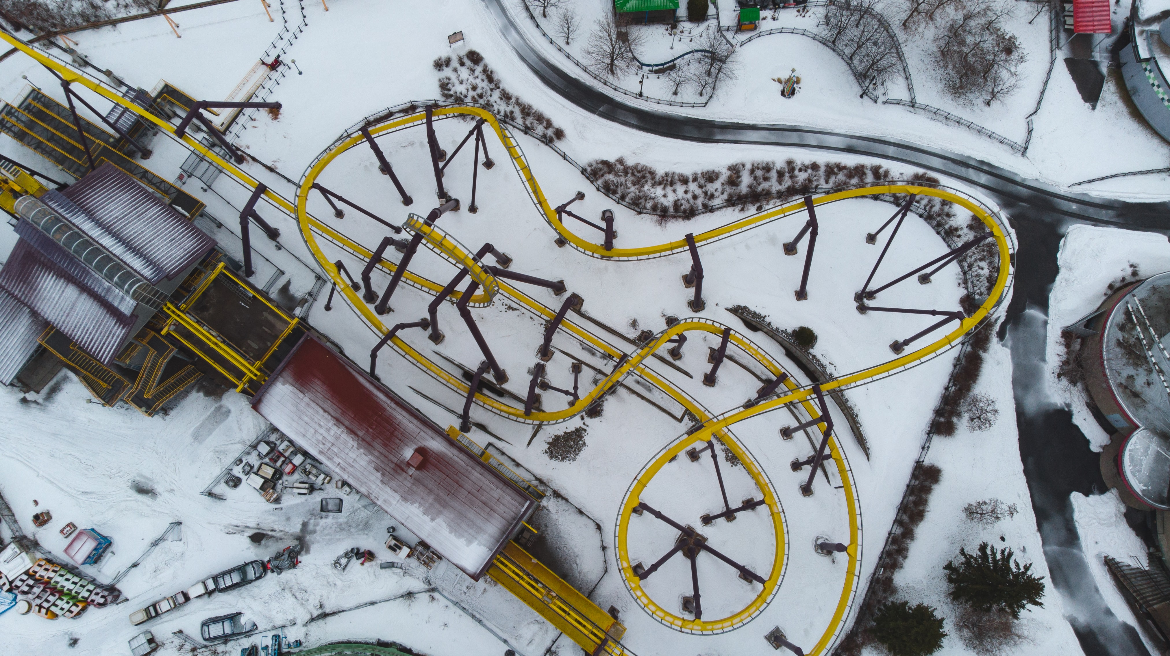 aerial photography of yellow train rail