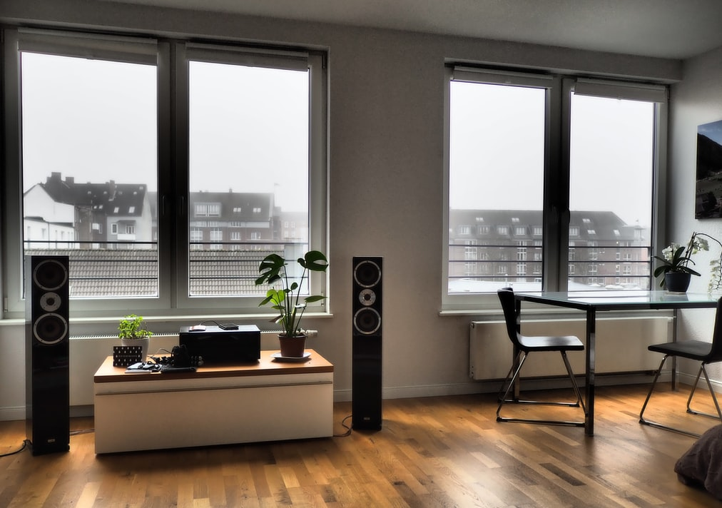 two tower speakers on both sides