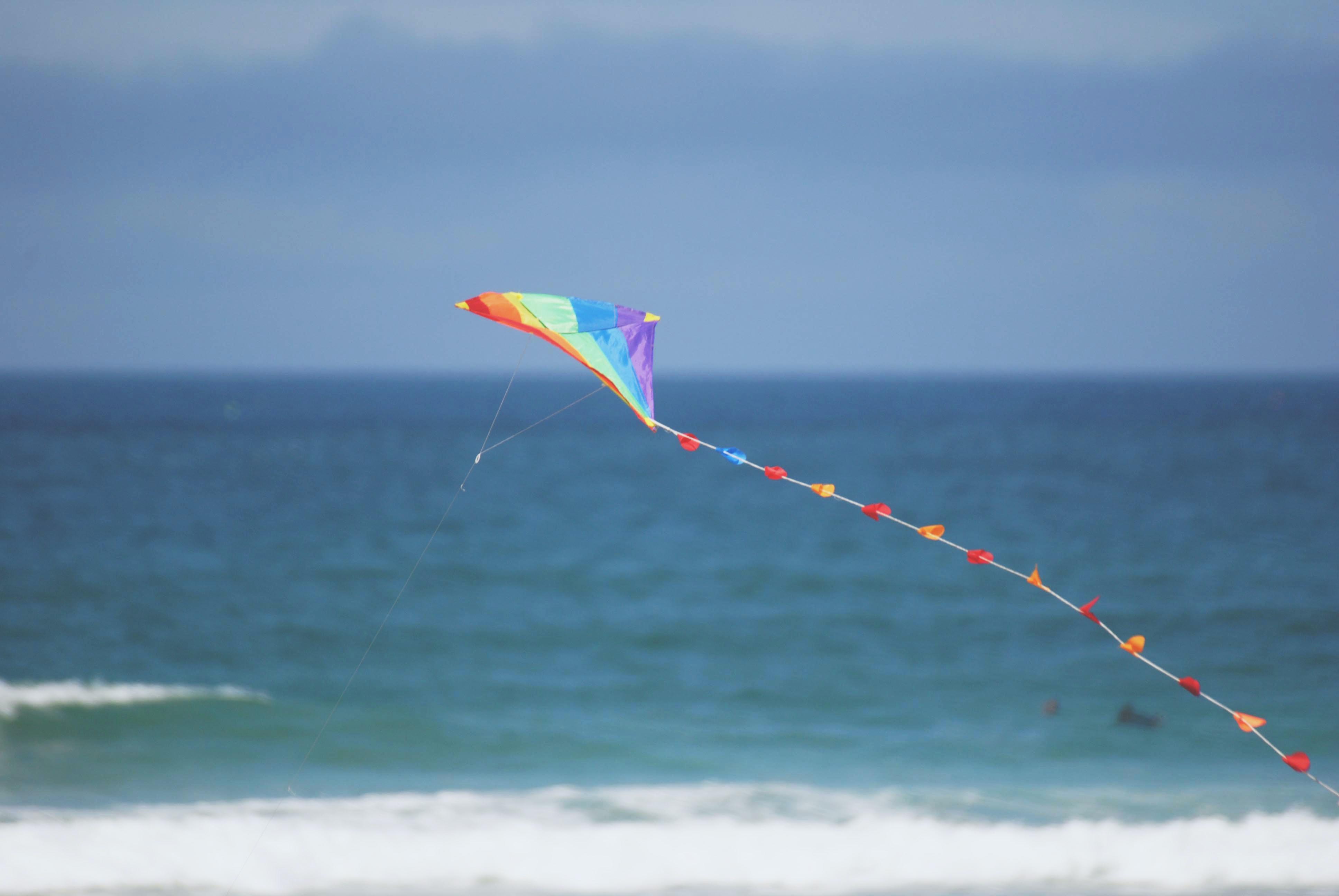 photo of multicolored kite flying beside seashore
