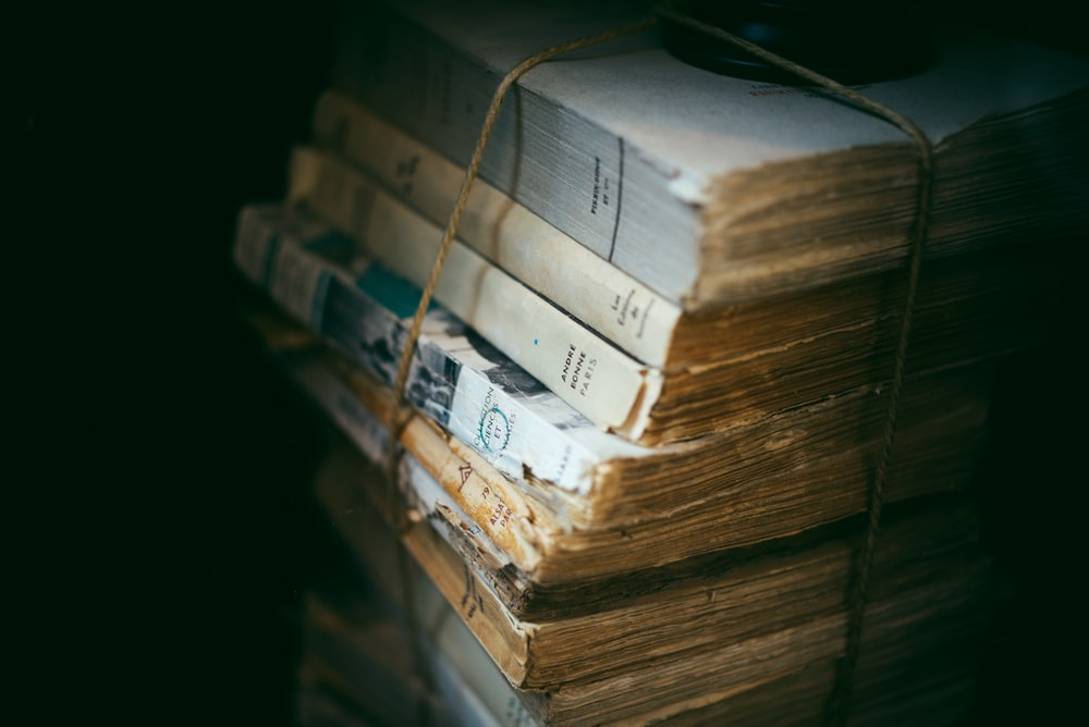 shallow focus photography of old books