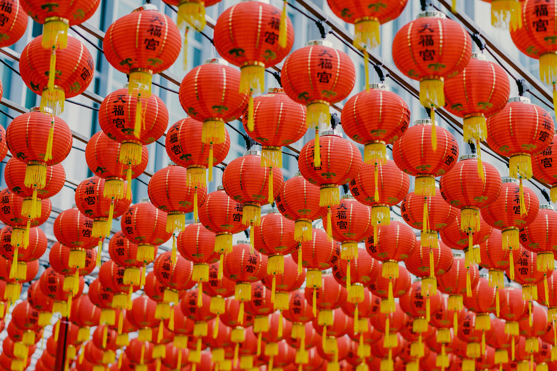orange hanging paper lantern lot