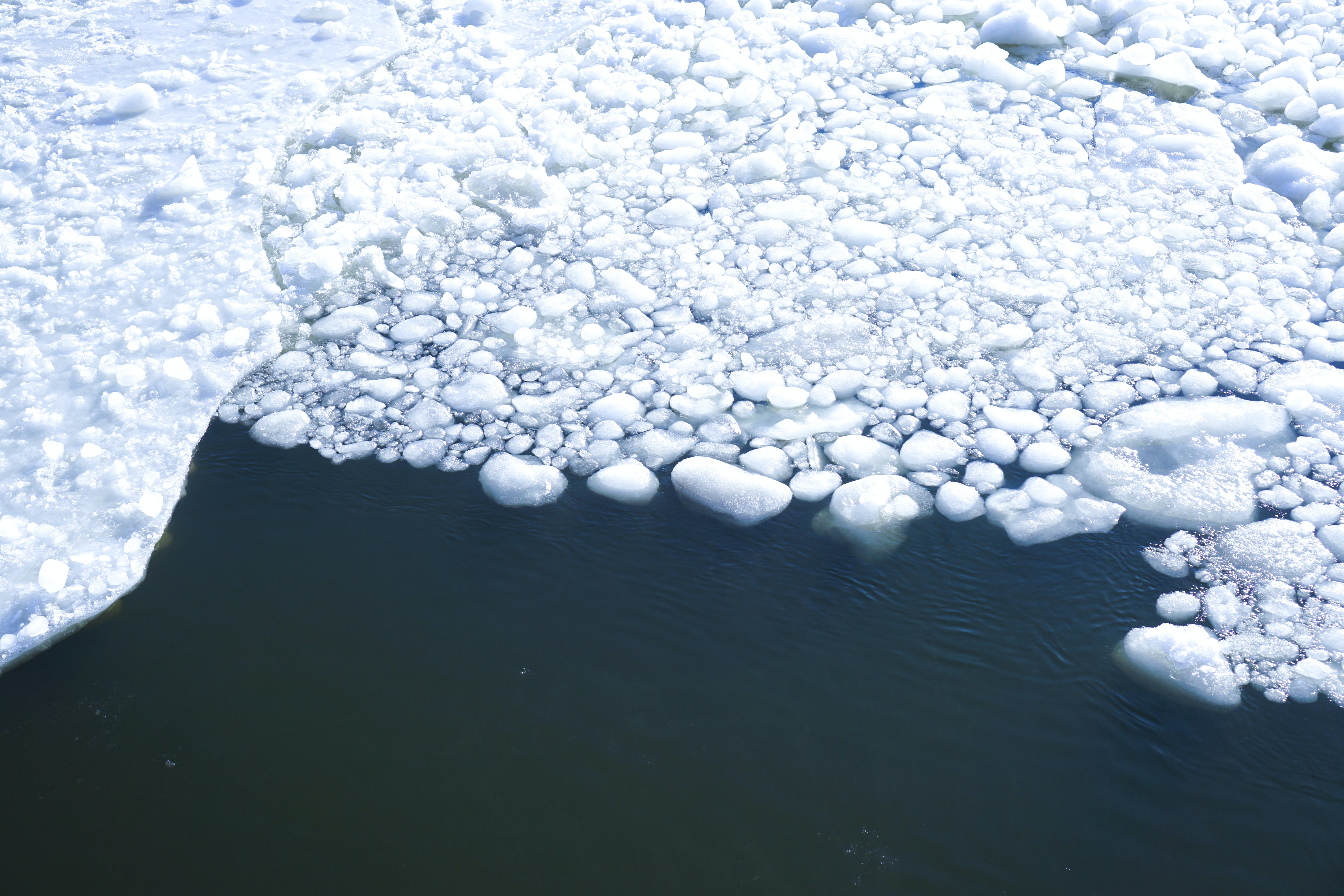 ice on water at daytime