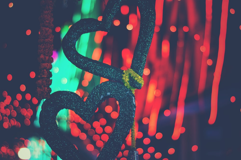 shallow focus photography of two heart decors