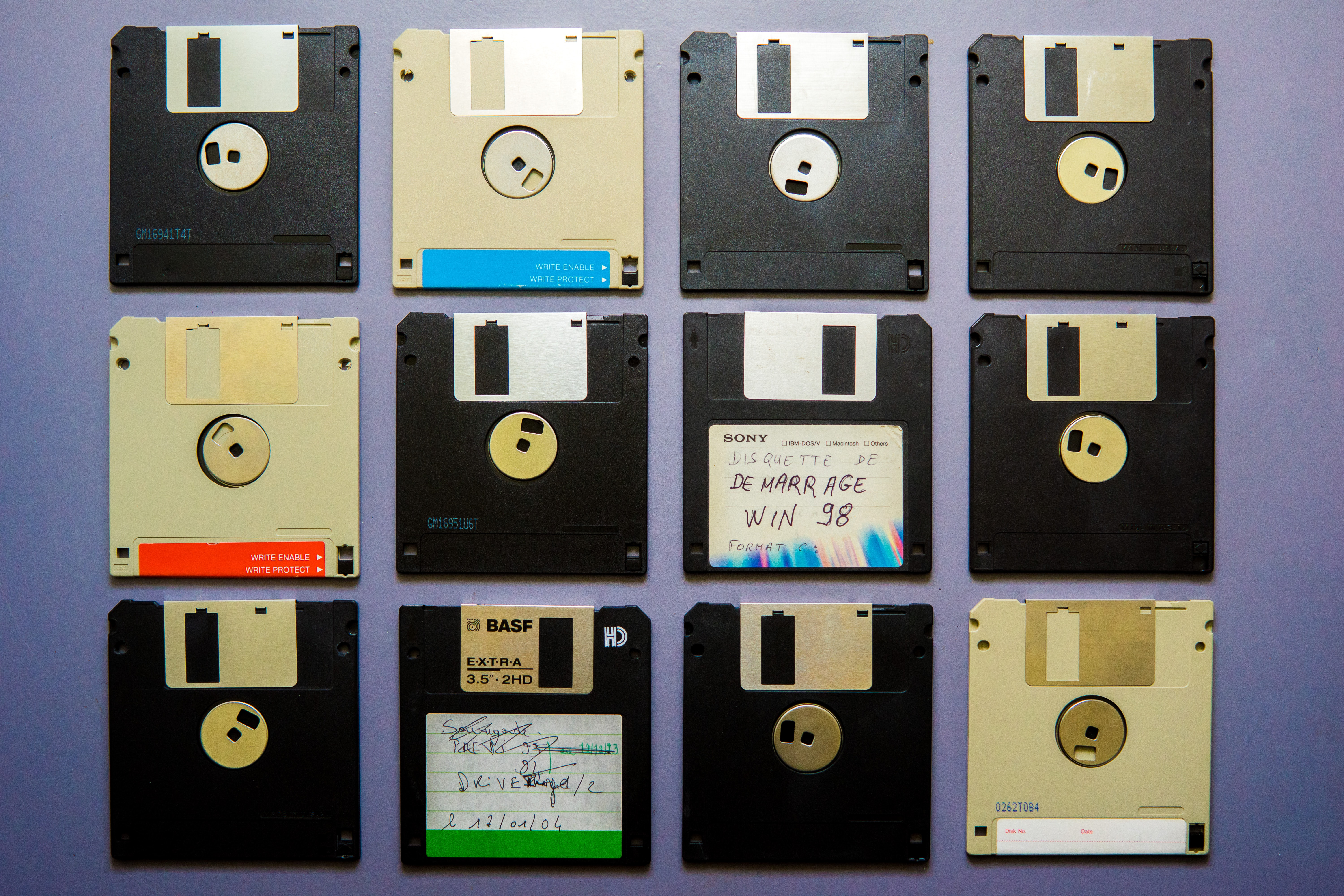 assorted-color floppy disc