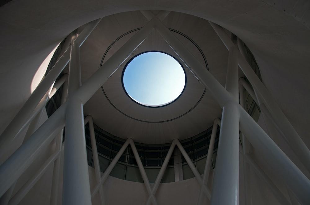 white concrete dome interior