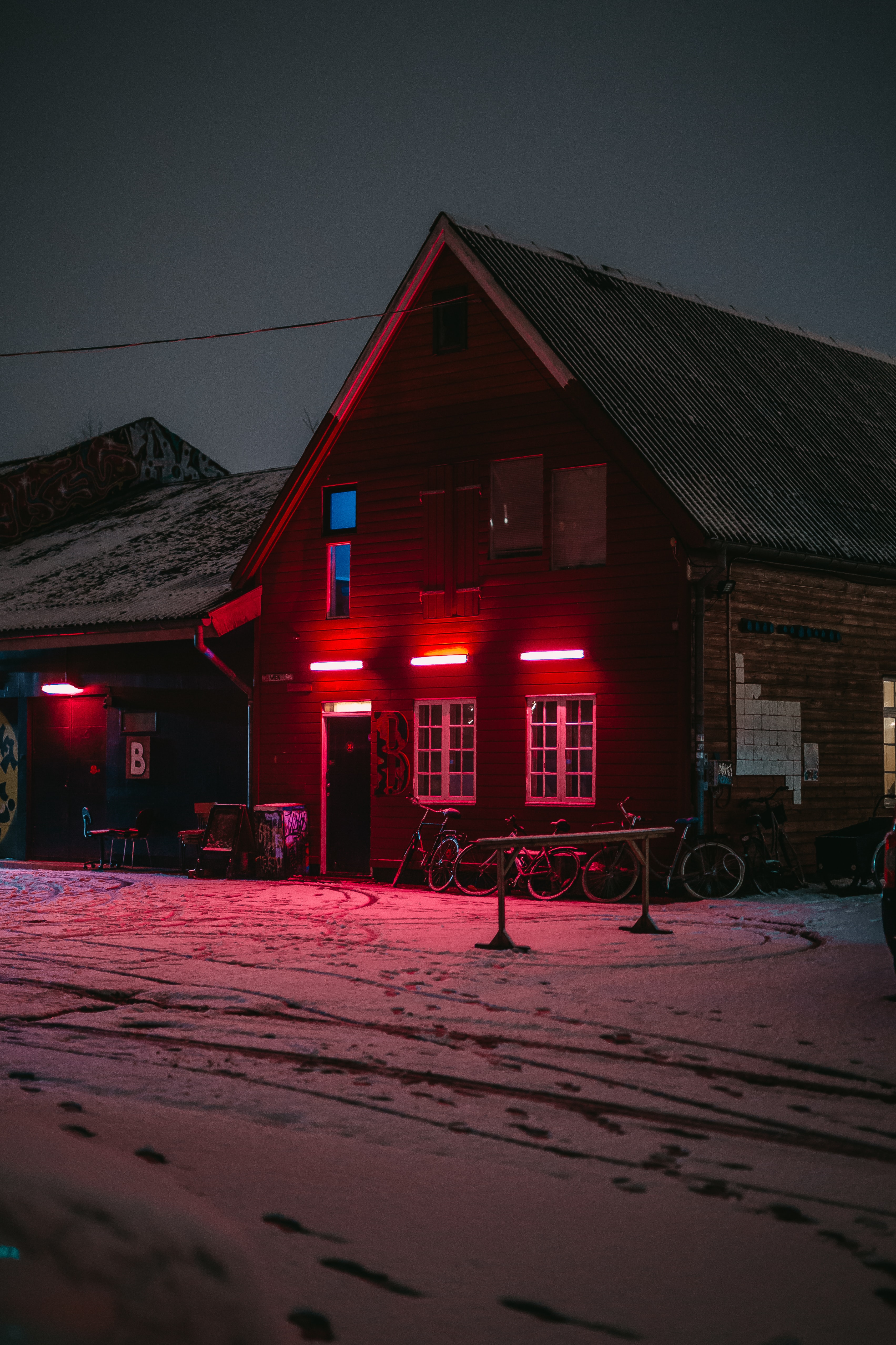 brown house in icy land