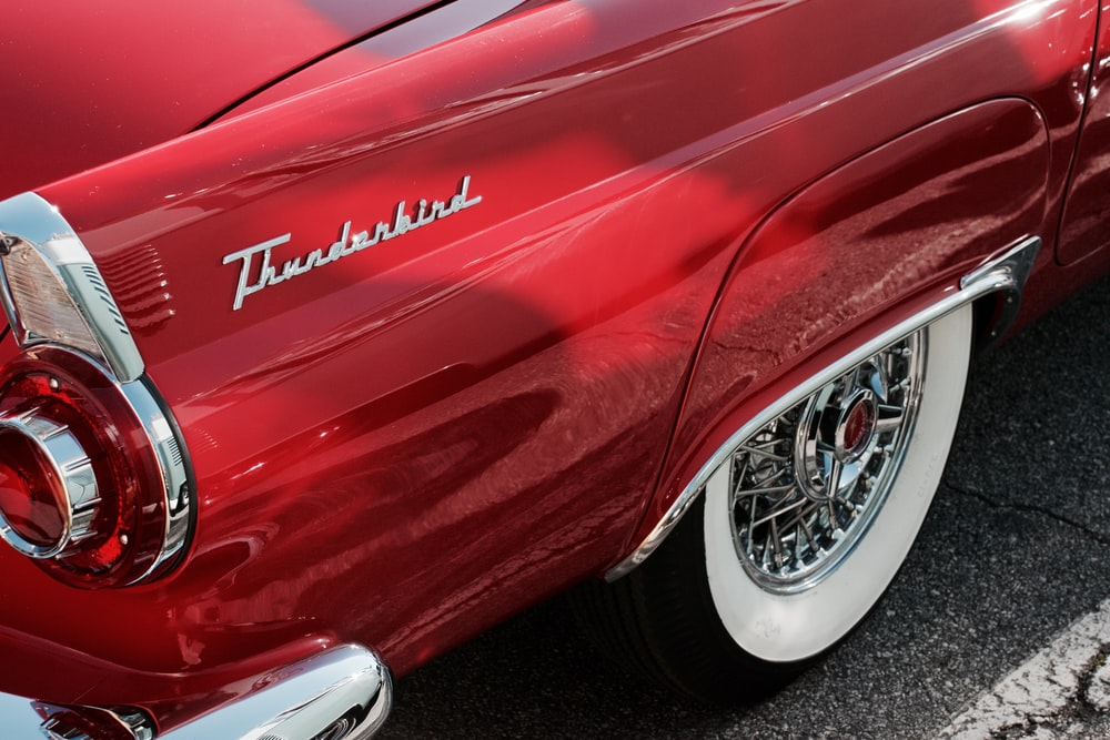 red Thunderbird car