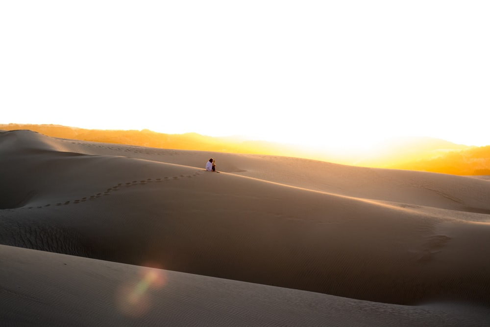 person sitting in desert
