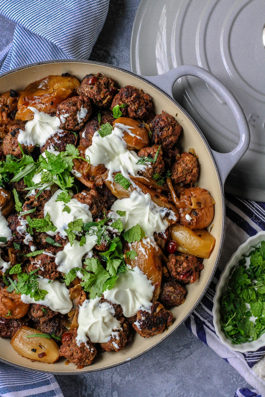 Cooking from Jerusalem: A Cookbook for a cookbook review.  Lamb meatballs with cranberries (swapped for barberries), yogurt and mint. Big hit at cookbook club!