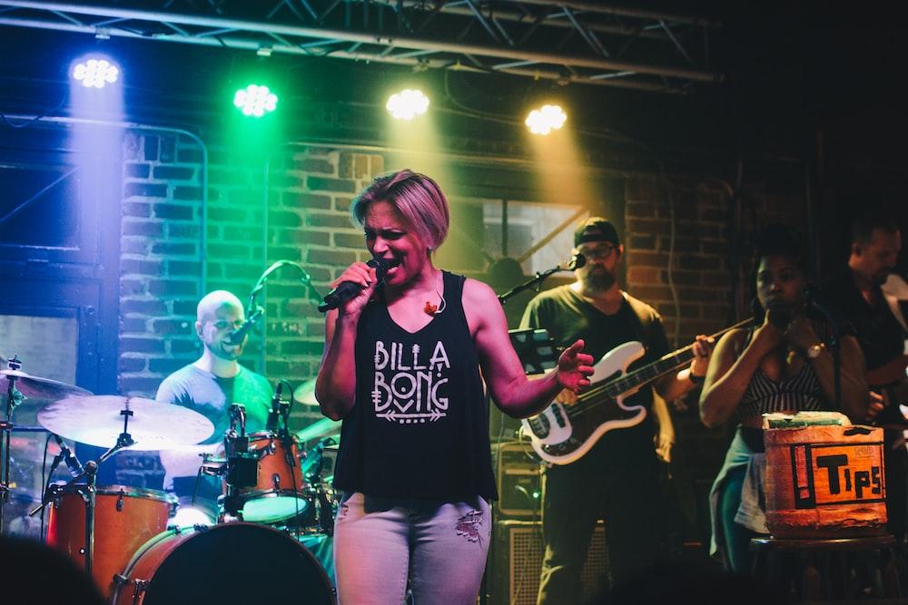 female singer performing live