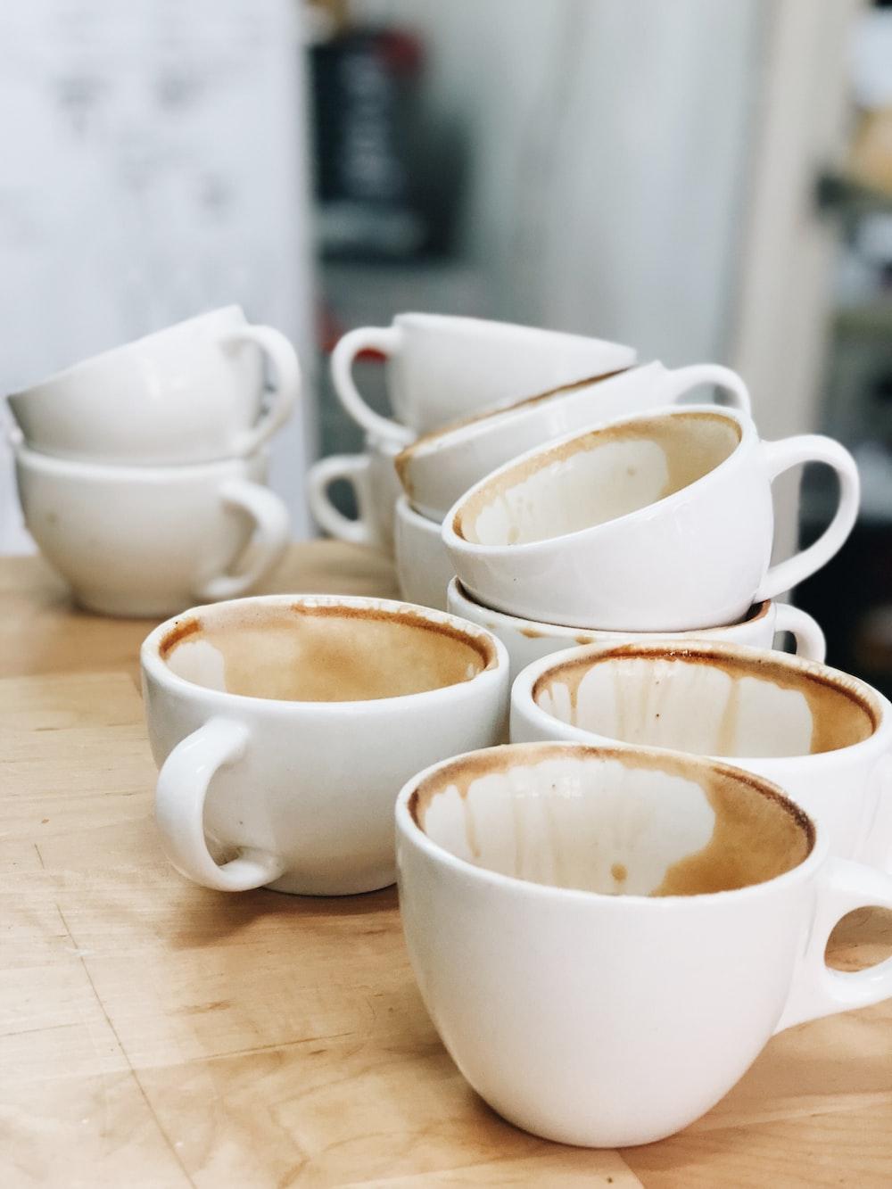 white ceramic coffee cup lot