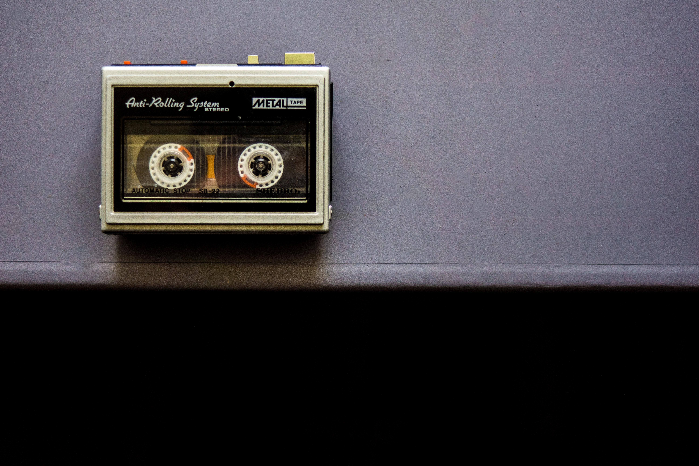 gray and black transistor radio