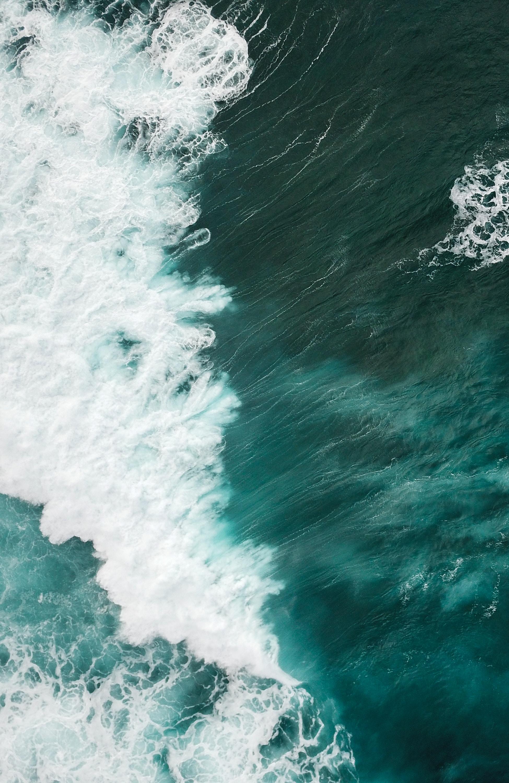 aerial shot of water waves