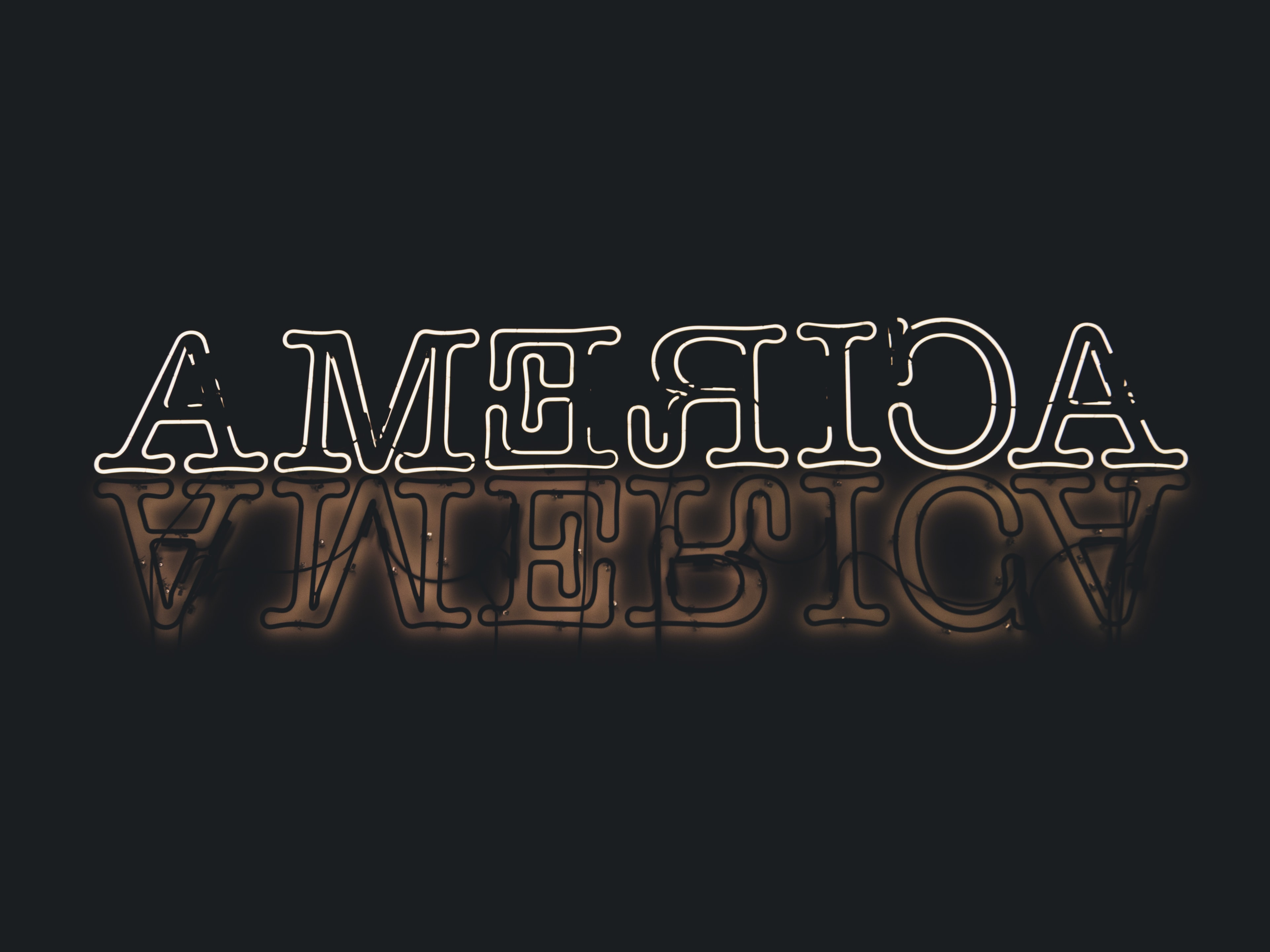black background with America text overlay