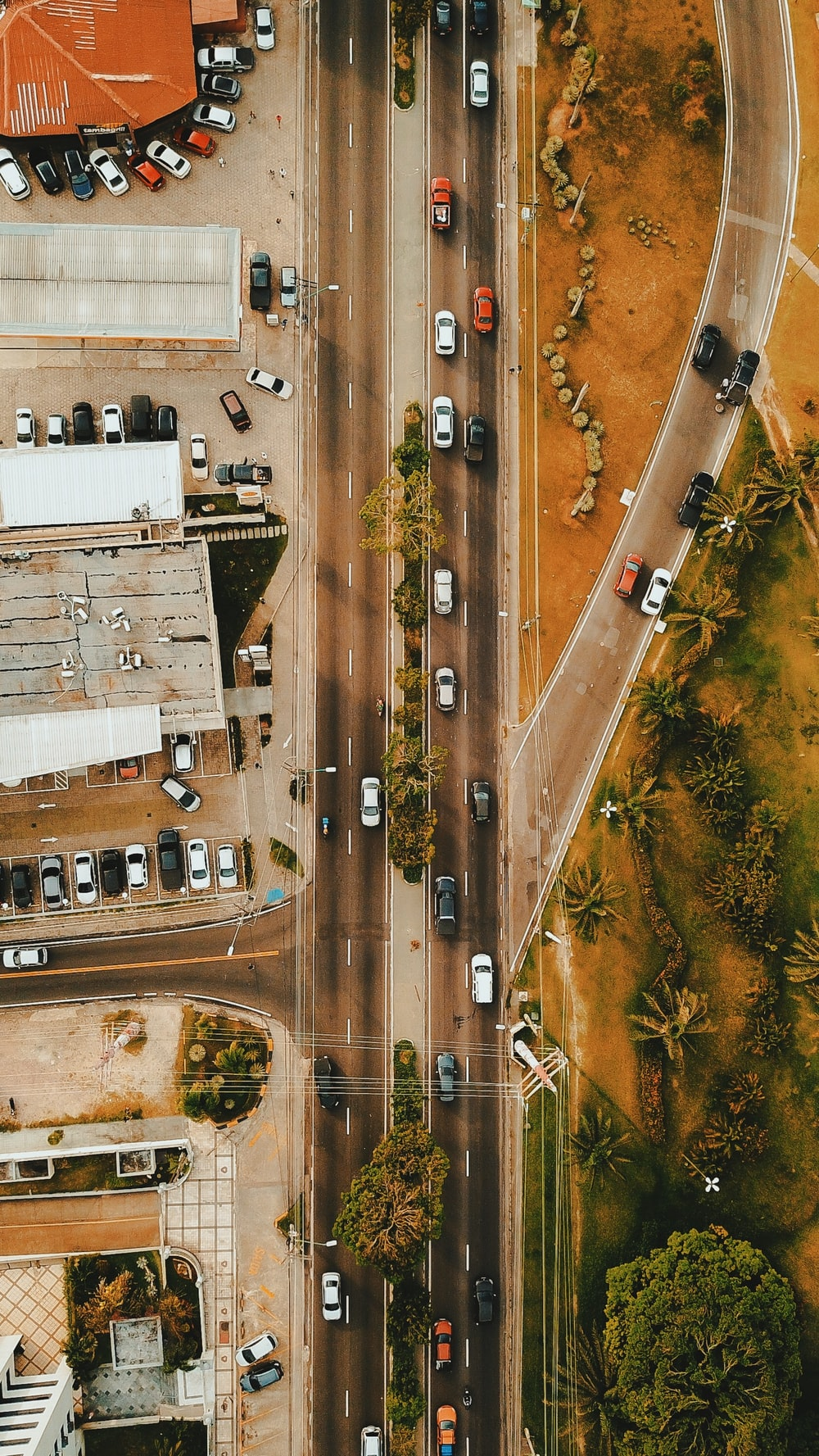 asphalt road aerial shot