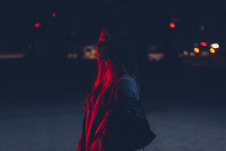 girl in red highlight lighting